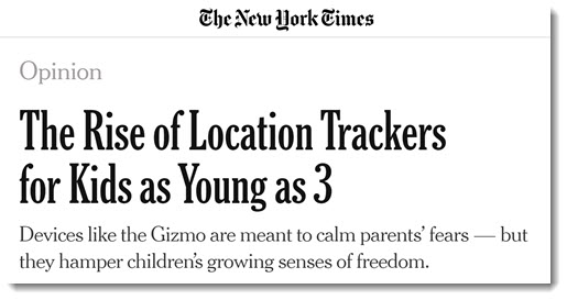 New York Times article on smartwatch location trackers for kids