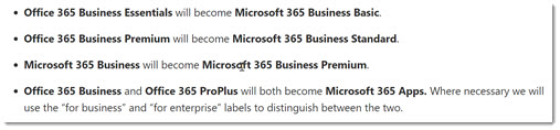 Microsoft 365 name changes