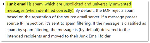 Microsoft definition of junk mail - universally unwanted messages (when identified correctly)