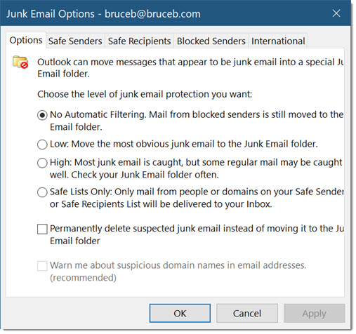 Outlook junk e-mail options - do not change this setting!