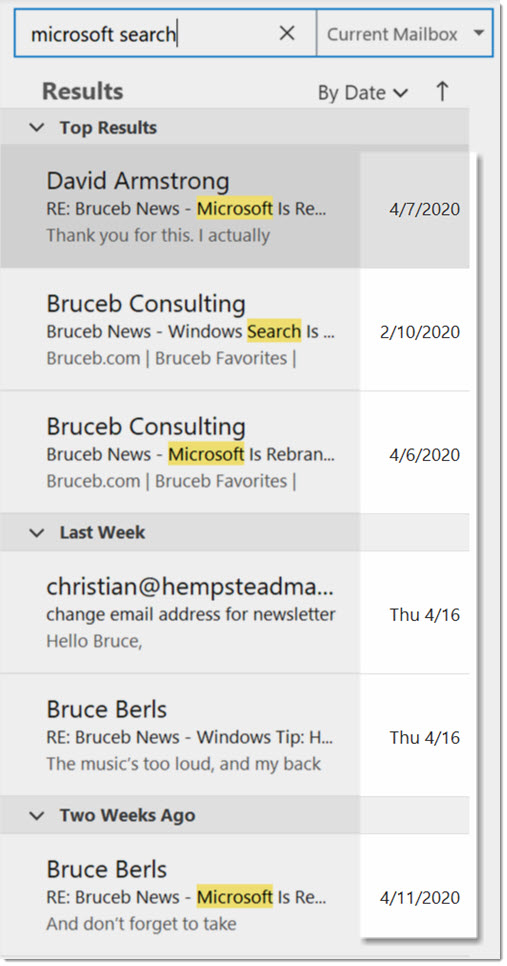 Outlook top results - three messages typically out of order