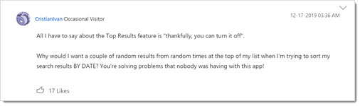 Outlook top results forum feedback