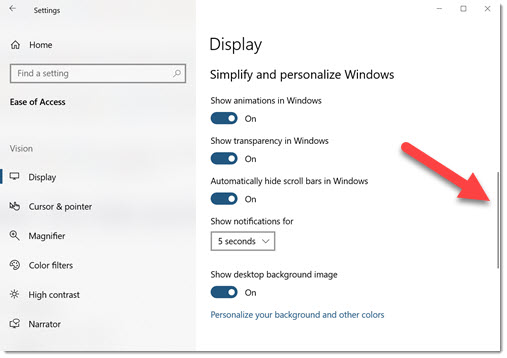 Windows settings with auto-hide scroll bar