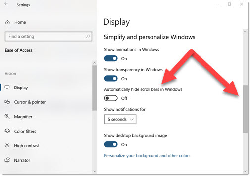 Windows settings with full-size scroll bar