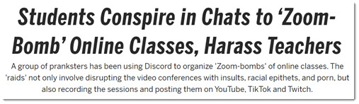 Students conspire to disrupt online Zoom classes