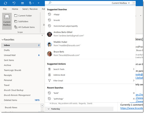 Outlook search bar - initial dropdown box