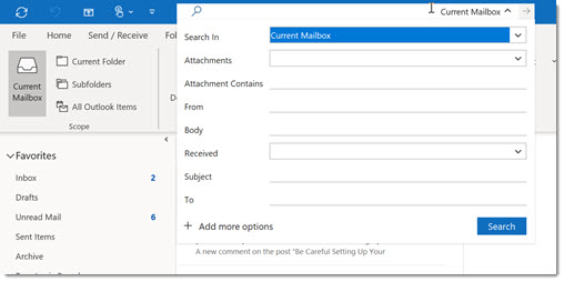 Outlook searches - better access to field searches