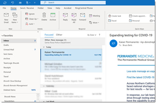 Outlook search bar at the top, on the title bar