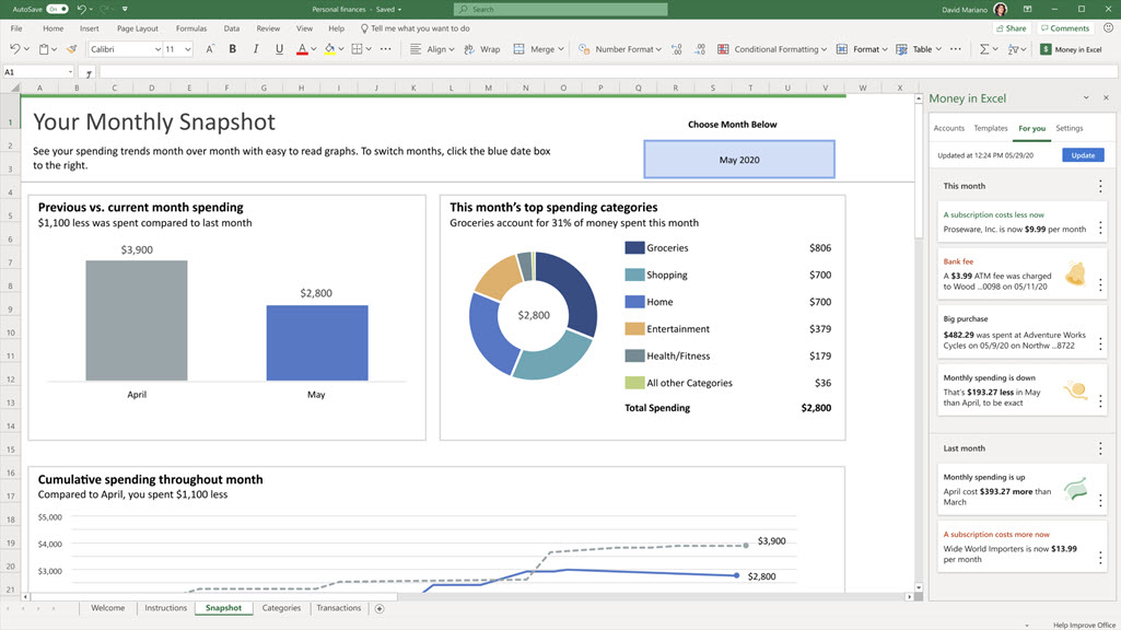 Money In Excel - new Microsoft financial manager